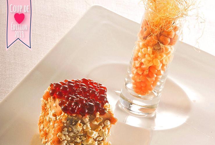 Foie-gras mi-cuit au coeur de caramel traditionnel, billes de caramel fort et croute de pop-corn et éclats de caramel