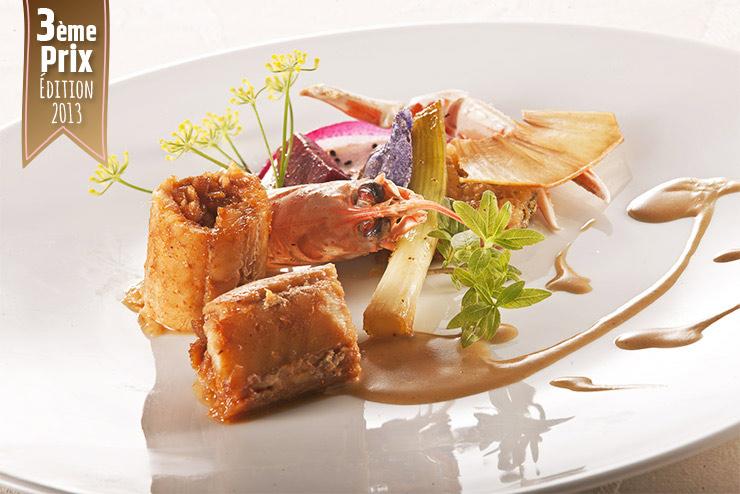 Cylindrique de sole et Langoustine en douceur caramel croquant de risotto pistaches arachides, petits légumes glacés