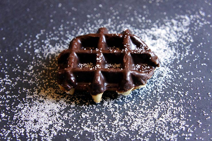 Waffles filled with caramel