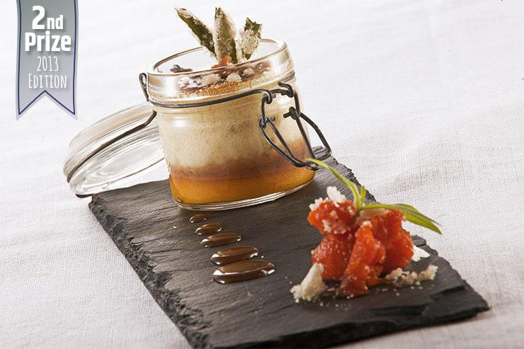 Crème brulée red kuri squash verbena with salted butter caramel and roasted hazelnuts
